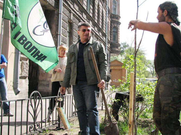 Alexander Sokurov Plants a Tree Outside Echo Petersburg Studios with Members of the Green Wave Movement (9 May 2008)