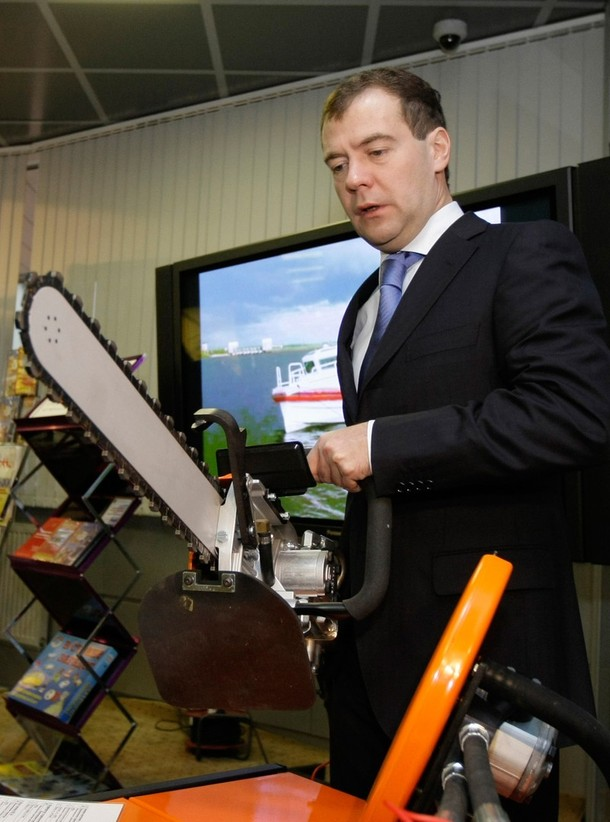 Russian President Dmitry Medvedev holds