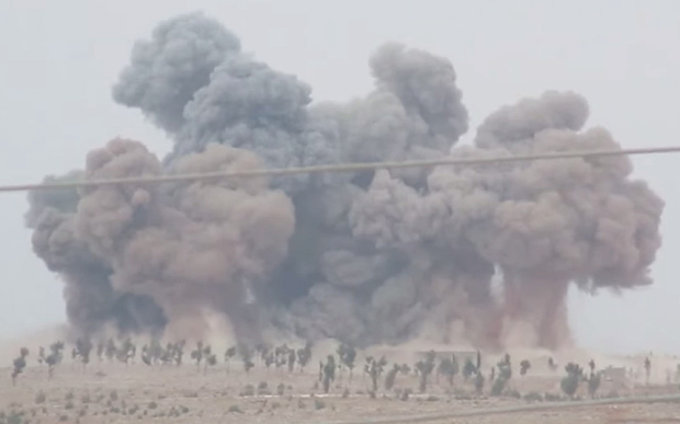 A video released on YouTube claimed to show Russian air raids targeting the ruins of al-Rabiyah and Shinsharah near Kafranbel