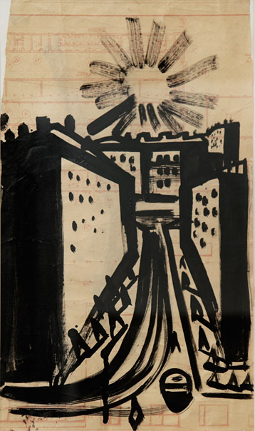 Sholom Shvarts, Canal, 1960s. Ink on paper, 31.5 x 19.5 cm. Collection of Dmitry Shagin