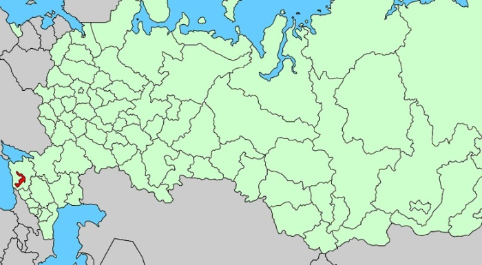 Adygea (in red) on map of Russia