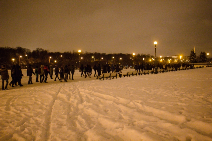 Marchers arrive on a snow-covered Field of Mars. Photo courtesy of Sergey Chernov