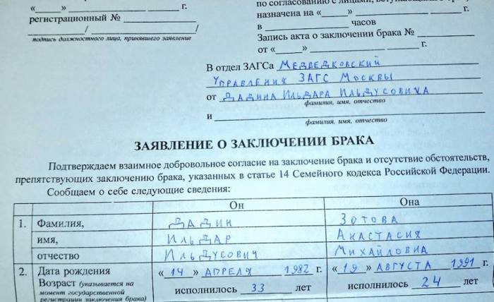 Ildar Dadin and Nastya Zotova's marriage application. Image courtesy of Imprisoned Russia