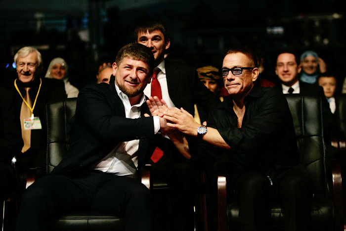 Ramzan Kadyrov and Jean-Claude Van Damme at the opening of the Hotel Grozny City, October 16, 2012