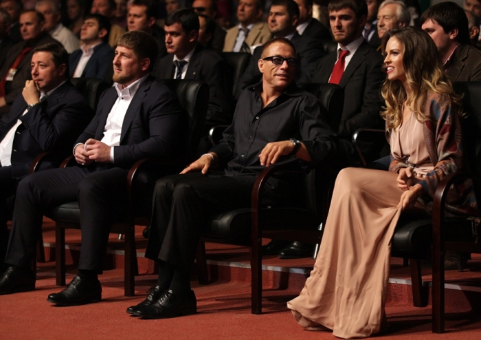 Chechen leader Ramzan Kadyrov, Belgian actor Jean-Claude Van Damme, and American actress Hilary Swank look on during a ceremony to mark Chechen leader Ramzan Kadyrov's 35th birthday and City Day celebrations in Grozny, Chechnya, Russia,  October 5, 2011. Photo by Maxim Shipenkov/EPA