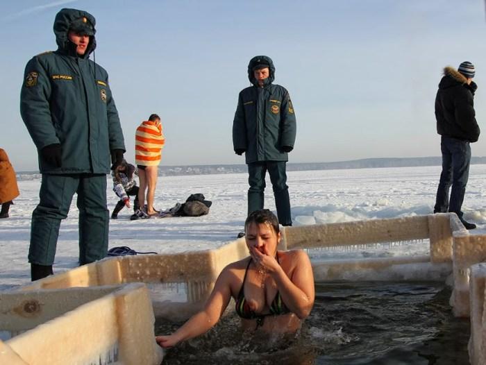 Epiphany ice hole bathing on Lake Shartash in Yekaterinburg, January 2012