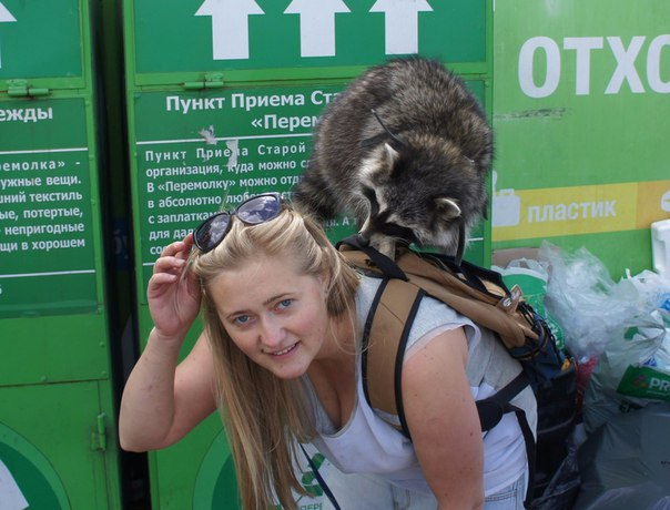 Enthusiastic recycler Masha and her pet raccoon. Photo: Ilya Snopchenko. Courtesy of Collection Point