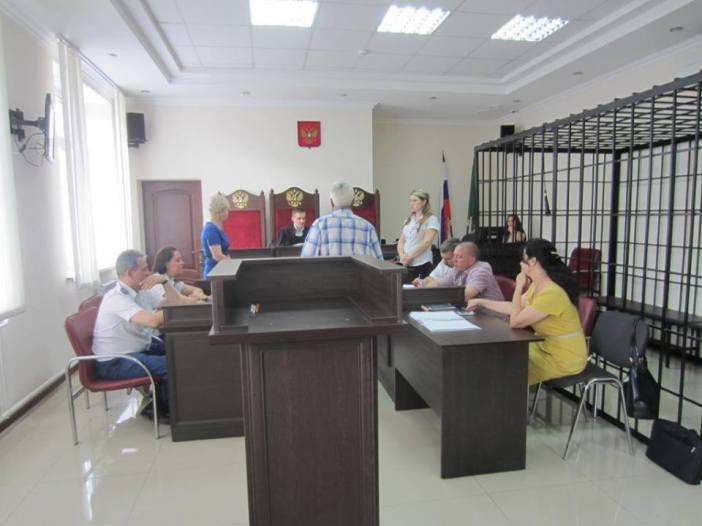 The extremism trial against environmentalist Valery Brinikh in session. Maykop City Court, June 17, 2016