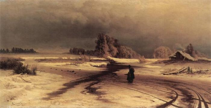 Fyodor Vasilyev, The Thaw, 1871. Oil on canvas, 107 x 53.5 cm. Image courtesy of Wikiart