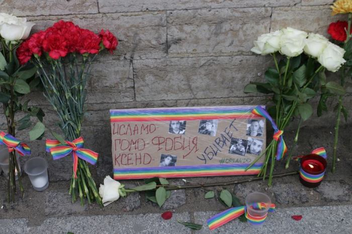 """Islamo-, homo-, xenophobia kill. #Orlando."" Spontaneous memorial outside the US Consulate in St. Petersburg, June 13, 2016. Photo by Vadim F. Lurie"