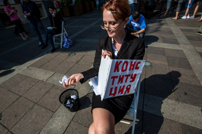 """Irina Yarovaya"" tears up Russian Constitution, Petersburg, July 4, 2016. Photo: David Frenkel"