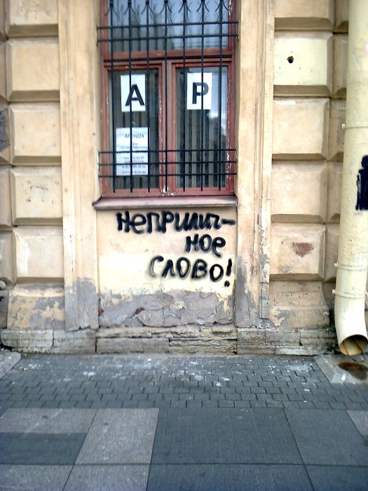 """A dirty word!"" Central District, Petersburg, July 18, 2016. Photo by the Russian Reader"