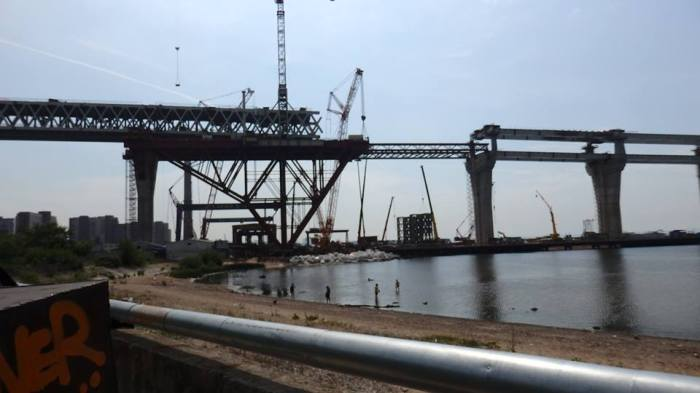 The ZSD under construction near the central beach on Kanonersky Island,