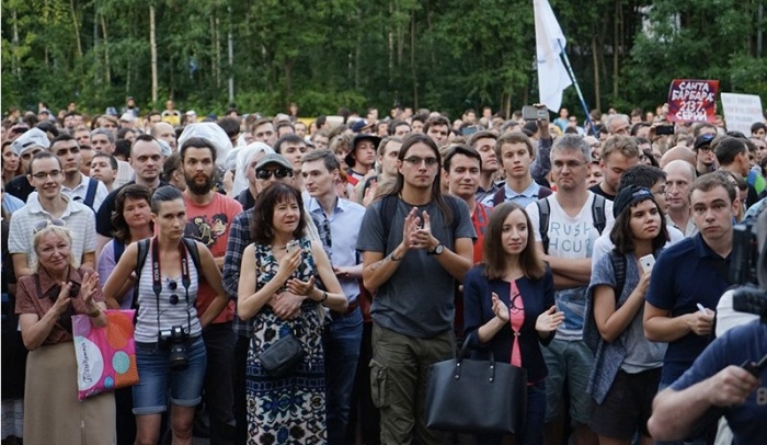 Muscovites rally against the Yarovaya package on August 9, 2016, in Sokolniki Park. Photo courtesy of Oleg Yakovlev/RBC