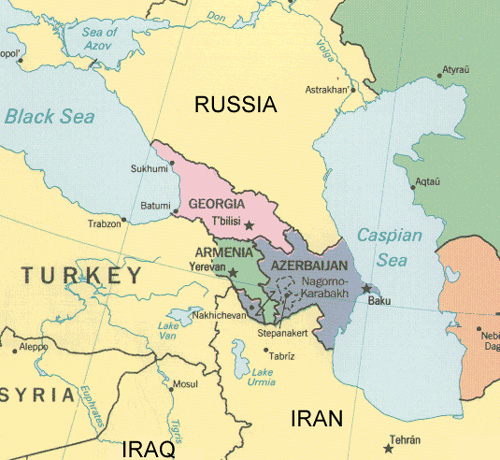 Map of the Caucasus and Caspian Sea region