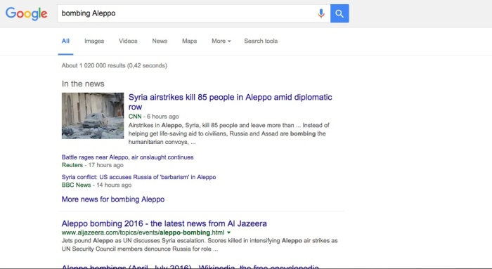 Results of Google for