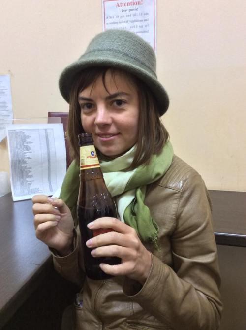 Sveta Erpyleva after finishing her 24-hour shift as elections observer in the wee hours of Monday morning. Photo courtesy of the author