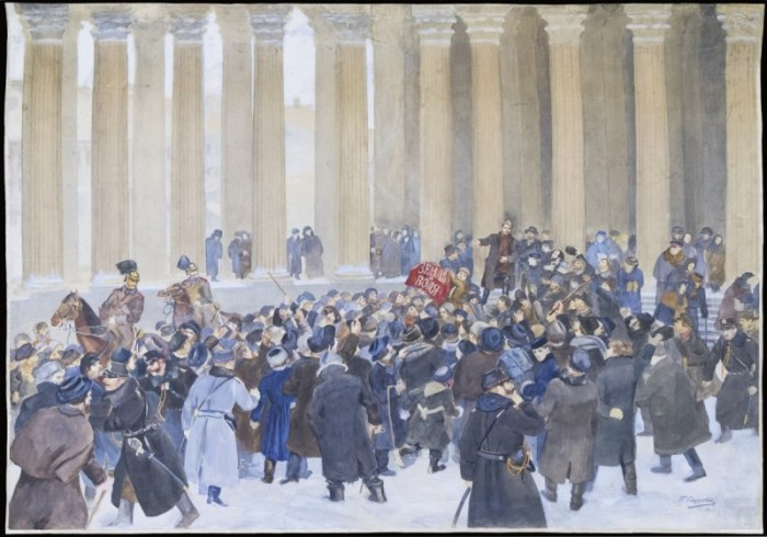 Depiction of Land and Will demonstration outside Kazan Cathedral. Image courtesy of the State Museum of Political History of Russia