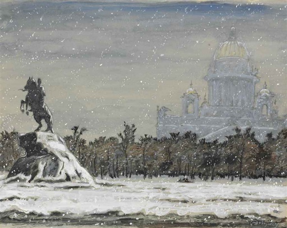 Mstislav Dobuzhinsky, Winter View of the Bronze Horseman with St. Isaac's Cathedral in the Background. Image courtesy of Artnet