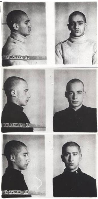 Yevgeny Gurevich, Boris Slutsky, and Vladlen Furman, executed in 1952. Photo courtesy of Sergei Stepanov
