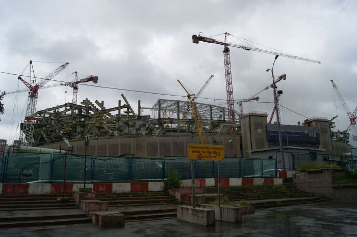 Dynamo Stadium under reconstruction. Photo courtesy of Wikipedia